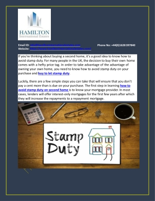 How to avoid stamp duty on a second home?