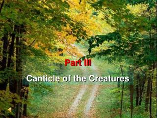 Part III Canticle of the Creatures