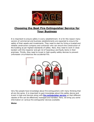 Choosing the Best Fire Extinguisher Service for Your Business