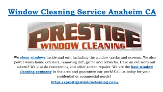 Window Cleaning Service Anaheim CA