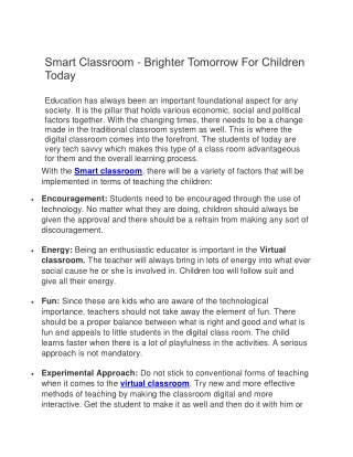 Smart Classroom - Brighter Tomorrow For Children Today