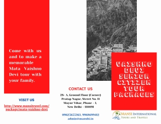 Vaishno Devi Senior Citizen Tour Packages