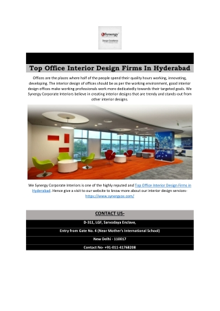 Top Office Interior Design Firms In Hyderabad