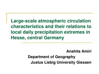 Large-scale atmospheric circulation characteristics and their relations to local daily precipitation extremes in Hesse,