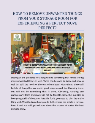 How to remove unwanted things from your storage room for experiencing a perfect move perfect