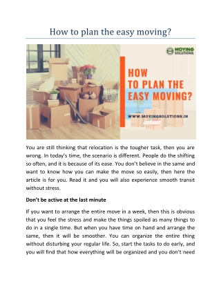 How to plan the easy moving