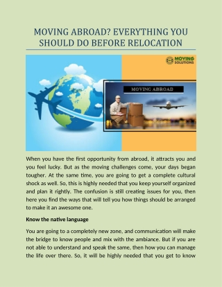 Moving abroad Everything you should do before relocation