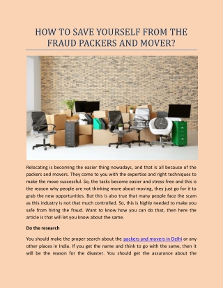 How to save yourself from the fraud packers and mover