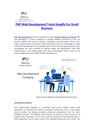 PHP Web Development Trend Amplify For Small Business