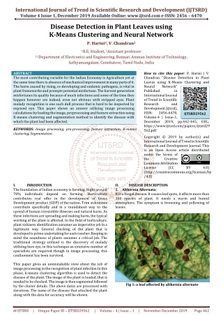 Disease Detection in Plant Leaves using K-Means Clustering and Neural Network