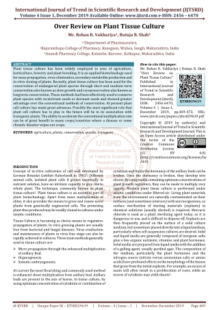 Over Review on Plant Tissue Culture
