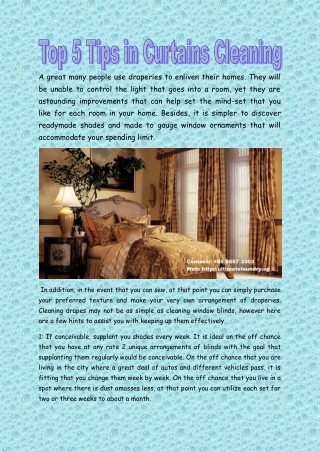 Top 5 Tips in Curtains Cleaning