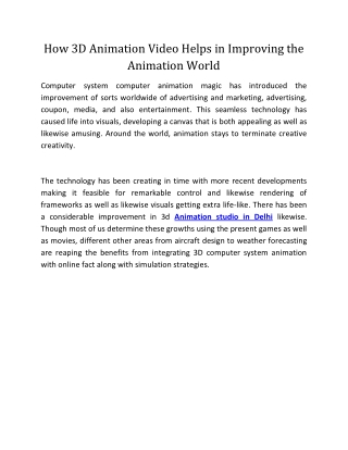 How 3D Animation Video Helps in Improving the Animation World