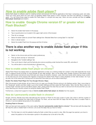 How to enable adobe flash player?