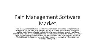 Pain Management Software Market