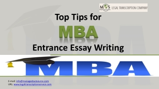 Top Tips for MBA Entrance Essay writing