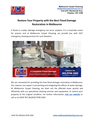 Restore Your Property with the Best Flood Damage Restoration in Melbourne