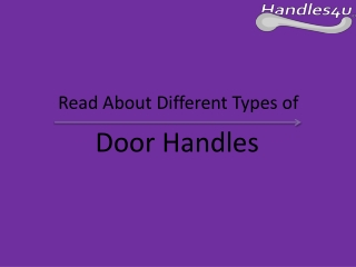 Types of Door Handles