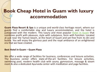 Book Cheap Hotel in Guam with luxury accommodation