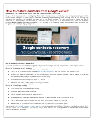 Google contacts recovery