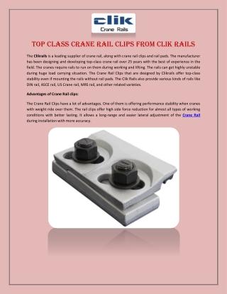 Top Class Crane Rail Clips from Clik Rails