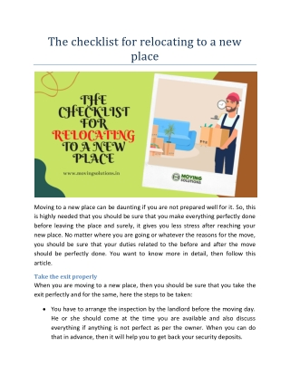The checklist for relocating to a new place