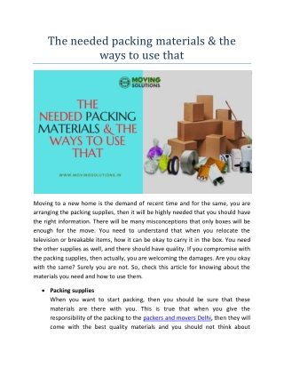 The needed packing materials & the ways to use that