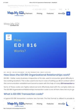 What is EDI 816 Transaction code?