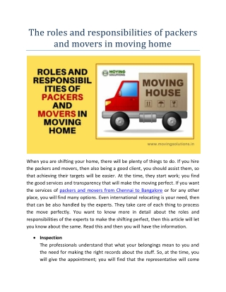 The roles and responsibilities of packers and movers in moving home
