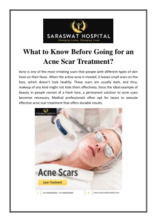 What to Know Before Going for an Acne Scar Treatment?