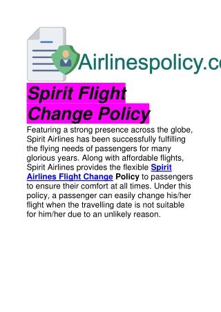 Spirit Flight Change Policy