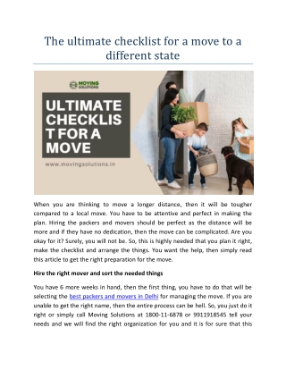 The ultimate checklist for a move to a different state