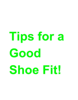 Tips for a Good Shoe Fit