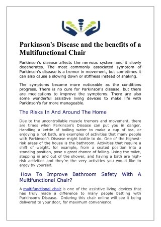 Parkinson's Disease and the benefits of a Multifunctional Chair