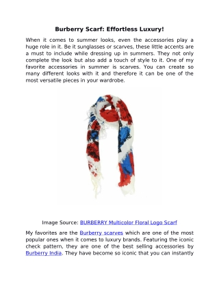Burberry Scarf - Effortless Luxury