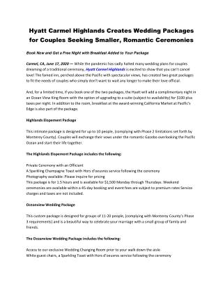 Hyatt Carmel Highlands Creates Wedding Packages for Couples Seeking Smaller, Romantic Ceremonies