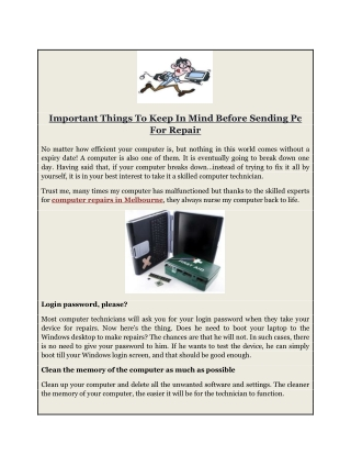 Important Things To Keep In Mind Before Sending Pc For Repair