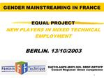 GENDER MAINSTREAMING IN FRANCE