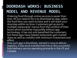 DoorDash Works: Business Model and Revenue Model