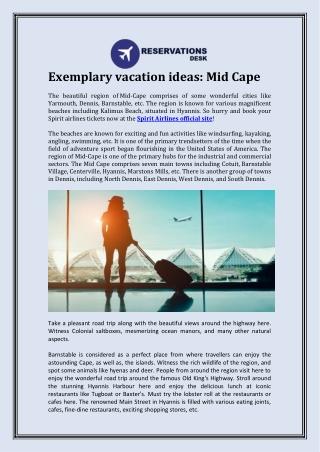 Exemplary vacation ideas: Mid Cape