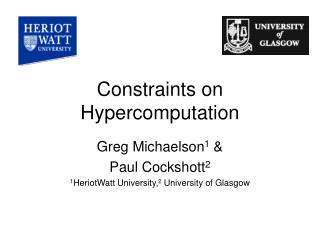 Constraints on Hypercomputation