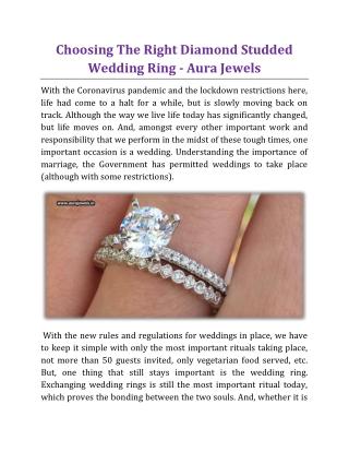 Choosing The Right Diamond Studded Wedding Ring - Aura Jewels