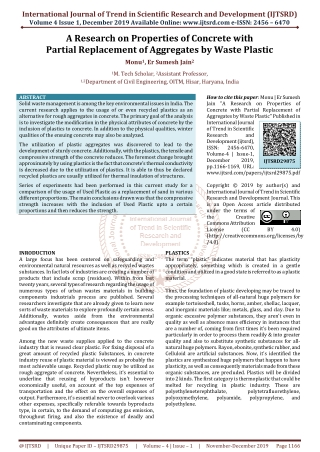 A Research on Properties of Concrete with Partial Replacement of Aggregates by Waste Plastic