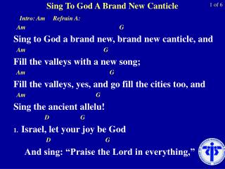 Sing To God A Brand New Canticle