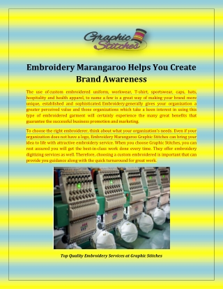 Embroidery Marangaroo Helps You Create Brand Awareness