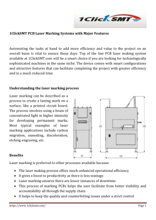 1ClickSMT PCB Laser Marking Systems with Major Features