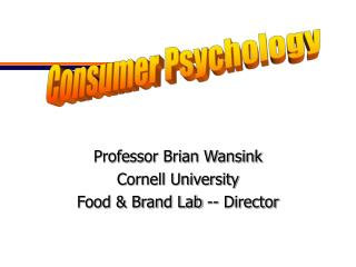 Professor Brian Wansink Cornell University Food & Brand Lab -- Director