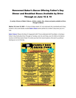 Renowned Baker's Bacon Offering Father's Day Dinner and Breakfast Boxes Available by Drive-Through