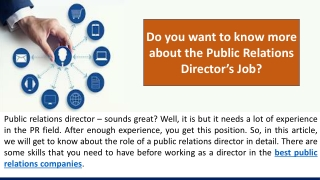 Do you want to know more about the Public Relations Director's Job