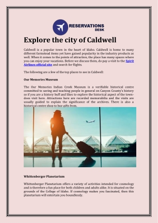 Explore the city of Caldwell